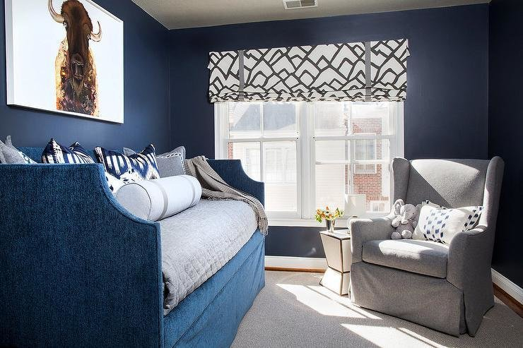 Best Gray And Blue Boys Bedroom With Gray Wingback Glider With Pictures