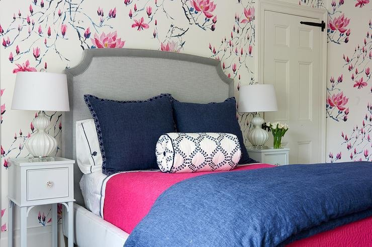 Best Pink And Blue Bedroom With Gray Bed And Nightstands With Pictures
