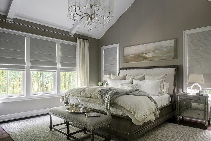 Best Taupe Bedroom With Sleigh Bed Transitional Bedroom With Pictures