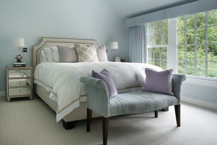 Best Blue Bedroom With Beige Bed And Mirrored Nightstands Transitional Bedroom With Pictures