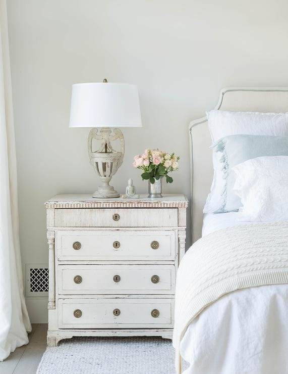 Best Off White Bedroom With Blue Ruffled Shams Transitional Bedroom With Pictures