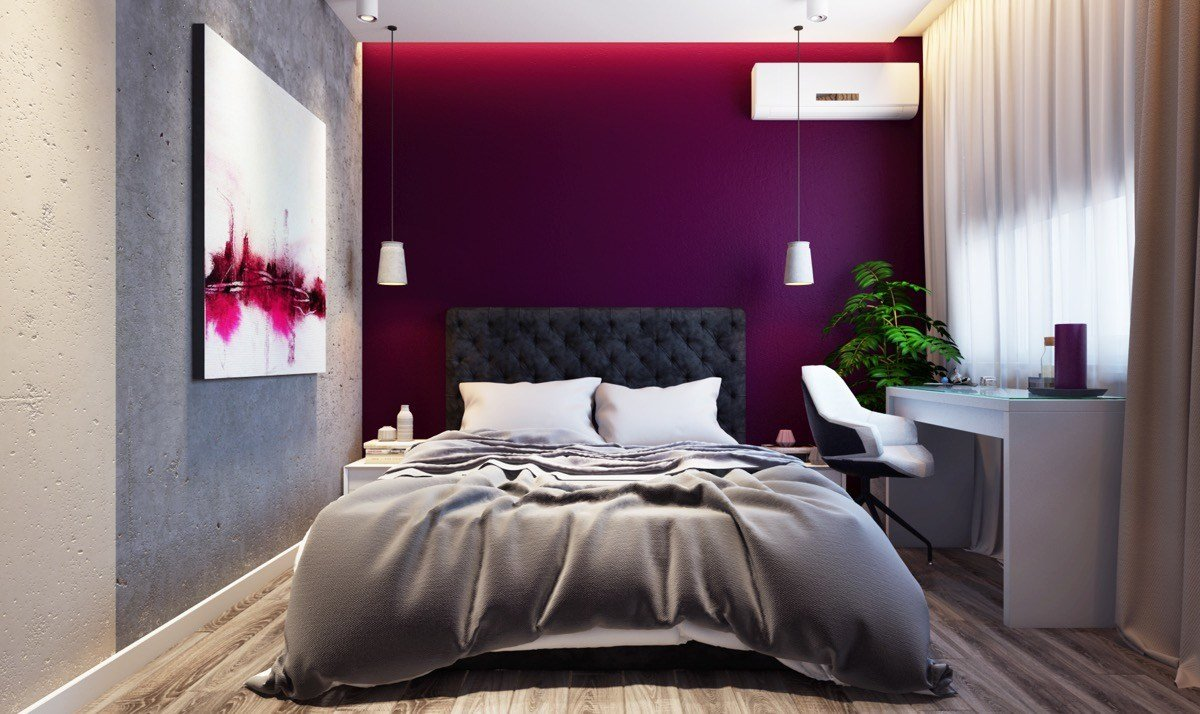 Best Purple Feature Wall In Bedroom Psoriasisguru Com With Pictures