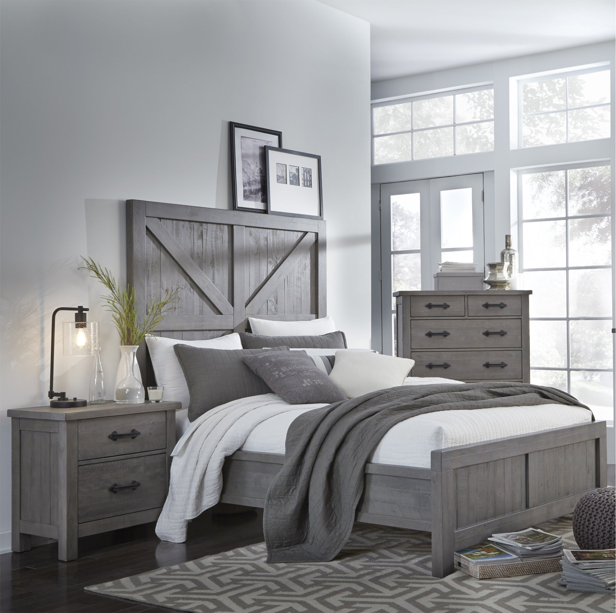 Best Gray Rustic Contemporary 6 Piece King Bedroom Set Austin With Pictures