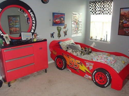Best Lightning Mcqueen Race Car Bed And A Toolbox Dresser W With Pictures