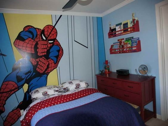 Best Spiderman Wall Kids Bedroom Paint Ideas Ashton Pinterest Ideas For Boys Bedrooms Blue With Pictures