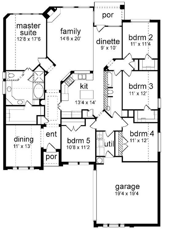 Best Floor Plan 5 Bedrooms Single Story Five Bedroom New American Dream Home Pinterest House With Pictures