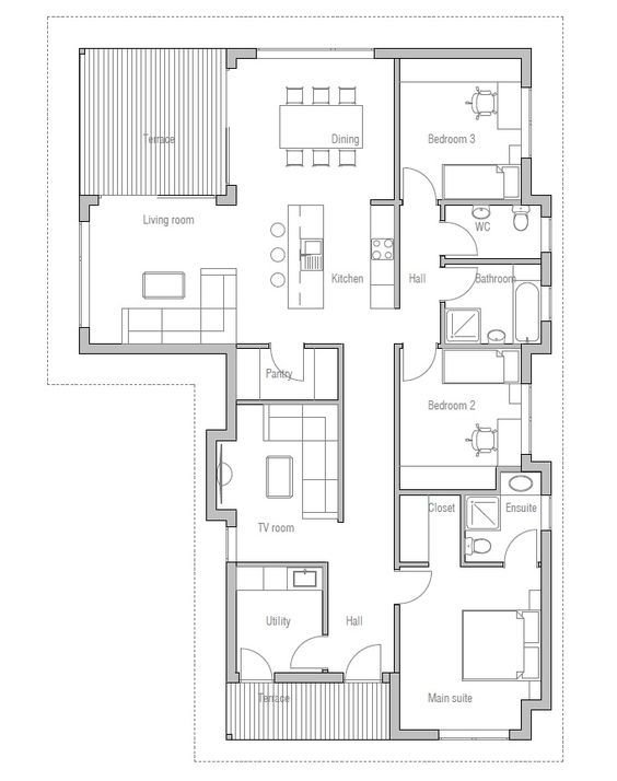 Best Small House Plan With Three Bedrooms Suitable To Narrow With Pictures