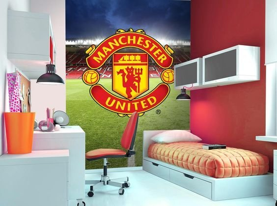 Best Manchester United Wall Mural Wallpaper Mural Football Children Bedroom Decor Manu With Pictures