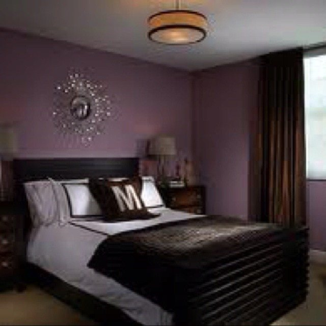 Best Deep Purple Bedroom Wall Color With Silver Chrome Accents With Pictures