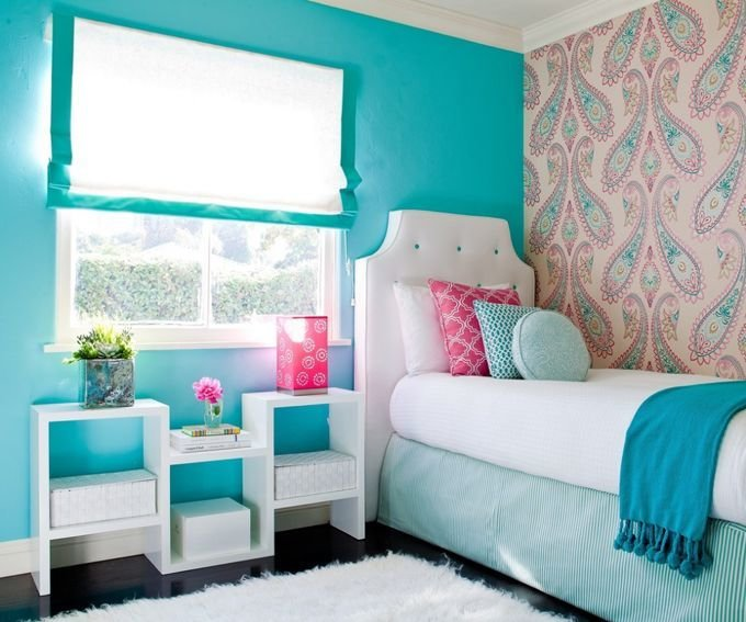 Best Girl Bedroom Teal Pink White Paisley Wall Paper This With Pictures