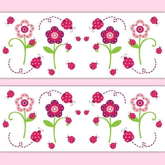 Best Ladybug Wallpaper Border Decal Wall Art Floral Girl With Pictures