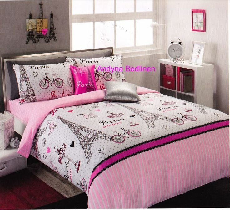 Best Pink And Black Paris T**N Bedding Details About 6 Piece With Pictures