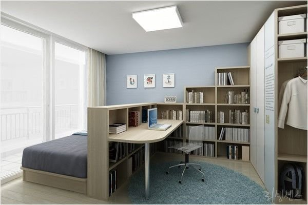Best Bedroom Home Office Combo Divided With Bookcase Home With Pictures