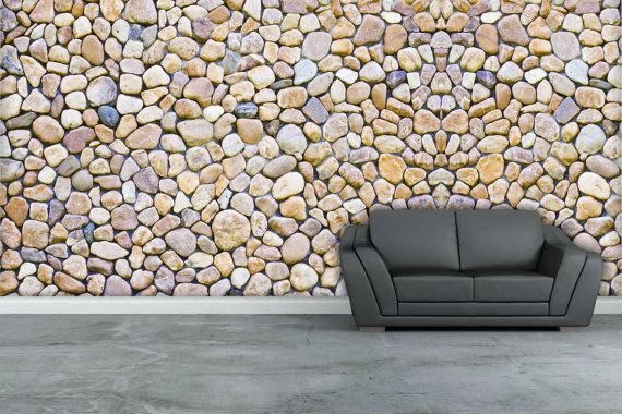 Best River Rock Texture Wall Mural Repositionable Peel By With Pictures