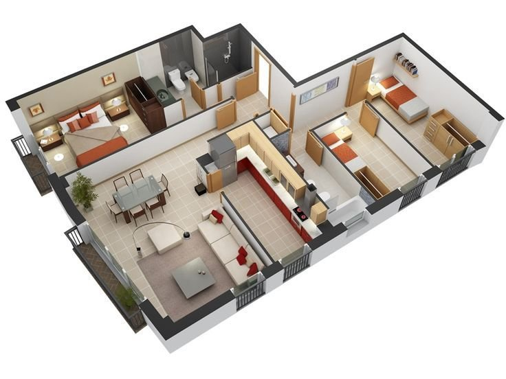 Best 3 Bedroom Design In 3D Small House Floor Plans 3Dfloorplan Smallhouseplan Smallhomeplan With Pictures