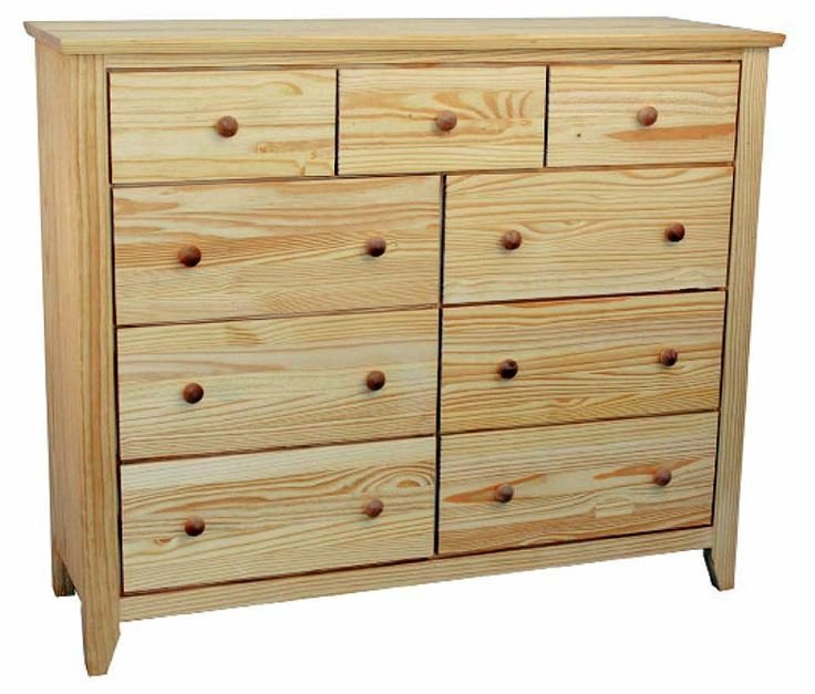 Best 9 Drawer Unfinished Solid Pine Wood Dresser With Full With Pictures