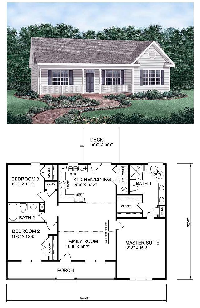 Best Ranch Homeplan 45476 Has 1258 Square Feet Of Living Space 3 Bedrooms And 2 Bathrooms Central With Pictures