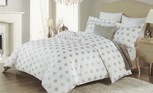 Best Isaac Mizrahi 3Pc Full Queen Duvet Cover Set Large Polka Dot Silver Grey Gray White Luxury With Pictures