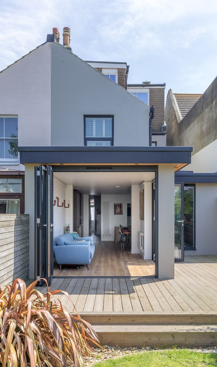 Best Modern Flat Roof Corner Opening Timber Decking Terrace Inside Outside Living Level With Pictures