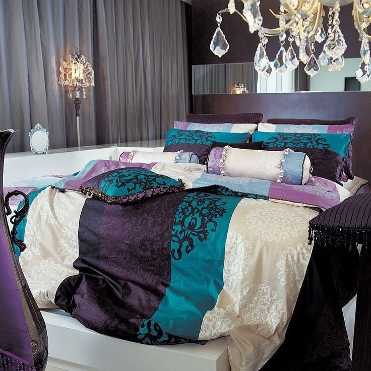 Best Black Damask Turquoise Purple Duvet Set King New With Pictures