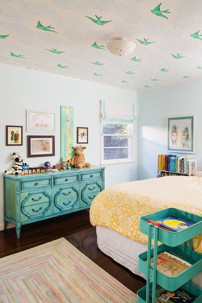 Best Bird Wallpaper On Ceiling Teal And Yellow Colorful Rug With Pictures