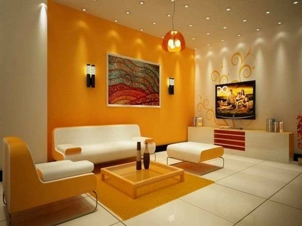 Best Wall Color Combinations Orange Wall White Furniture Http With Pictures