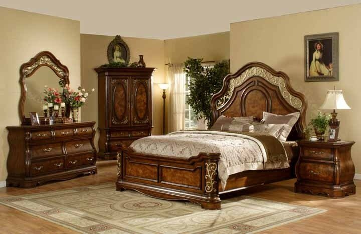 Best Mollai Collection 6Pc Bedroom Set With Cherry Finish With Pictures