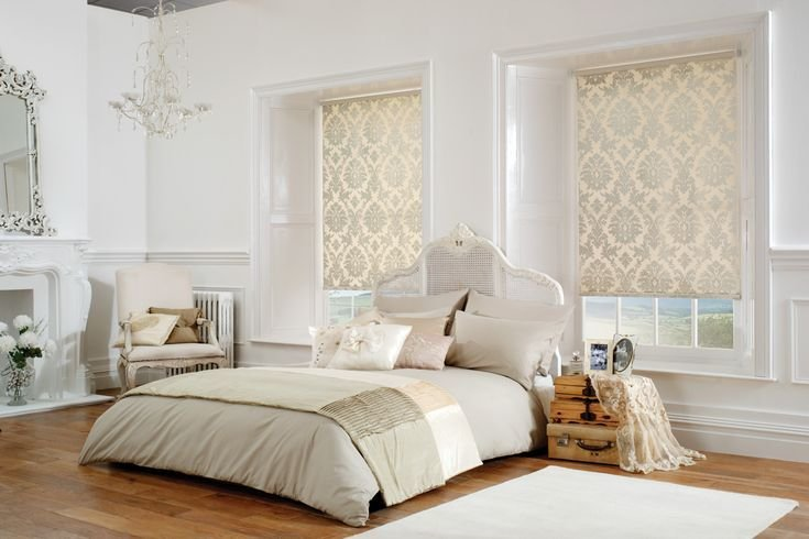 Best Shimmering Cream Gold Damask Roller Blinds In A White And Cream Bedroom With A Shabby Chic Bed With Pictures