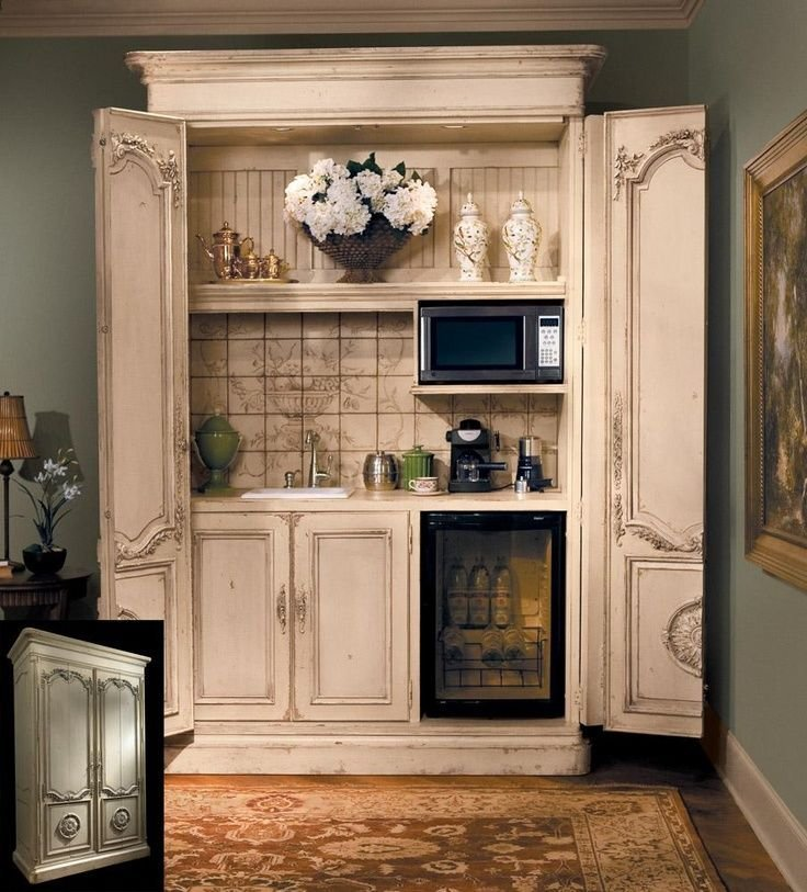 Best Armoire Makeover With Small Microwave Outlet For Coffee With Pictures