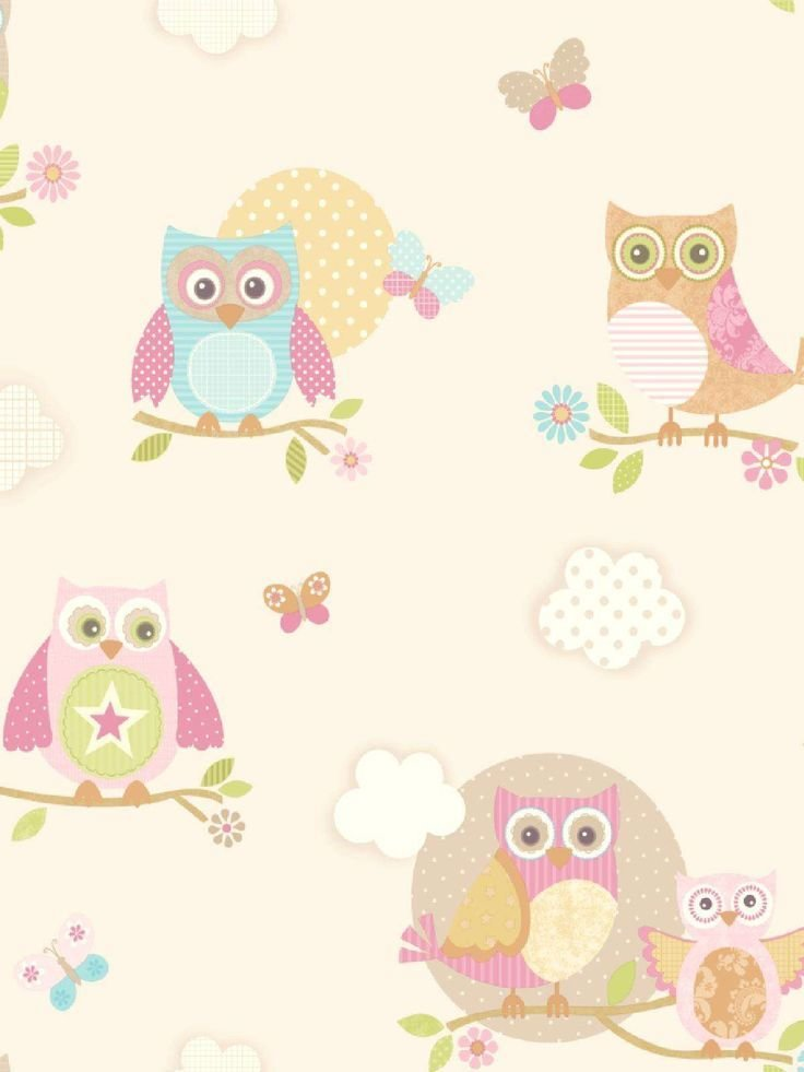 Best Pastel Owls Ivory Wallpaper Adalie New Bedroom With Pictures