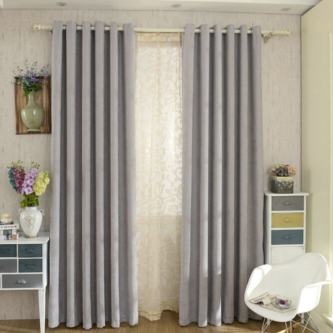 Best Modern Chenille Grey Bedroom Curtains Blackout Grey Modern And Curtains With Pictures