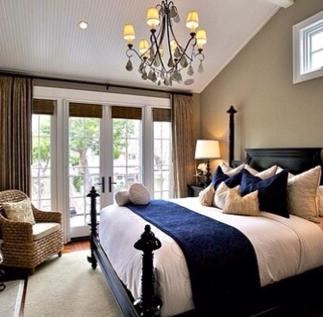 Best Navy Blue And Beige Bedroom Foxchase Pinterest French Doors Beige Bedrooms And Accent Pillows With Pictures