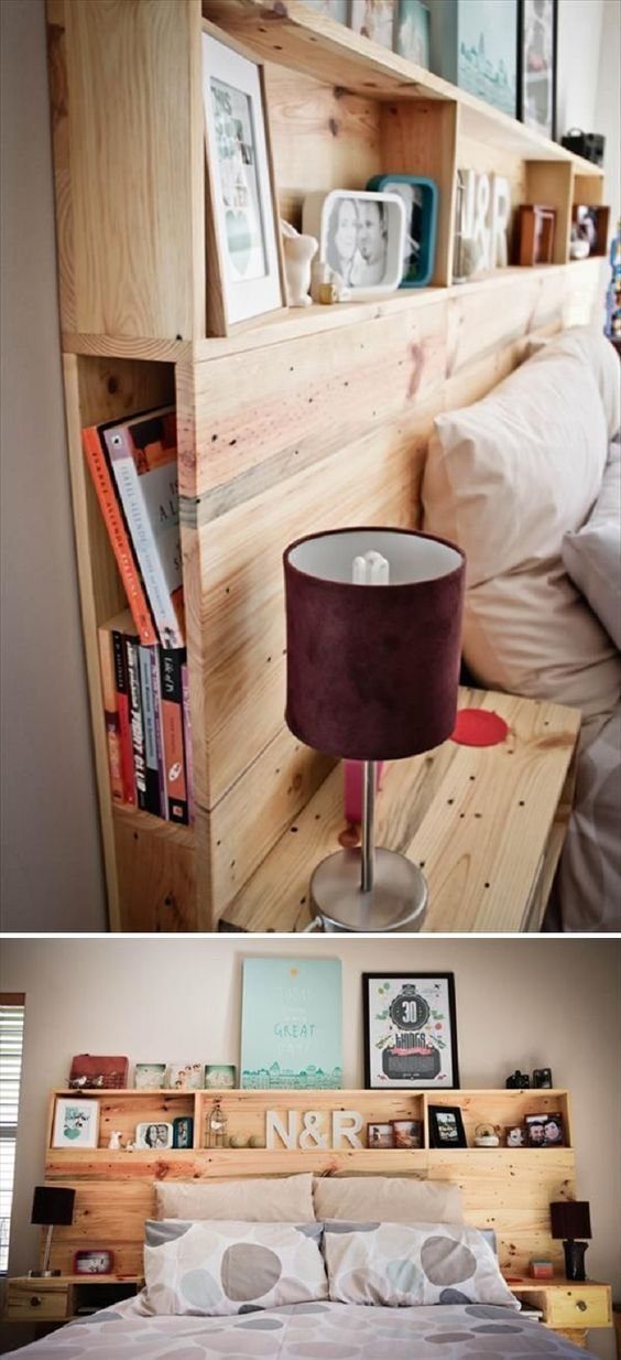 Best Diy Pallet Headboard With Shelves 15 Easy Headboard Diys For Your Bedroom Cool Pinterest With Pictures