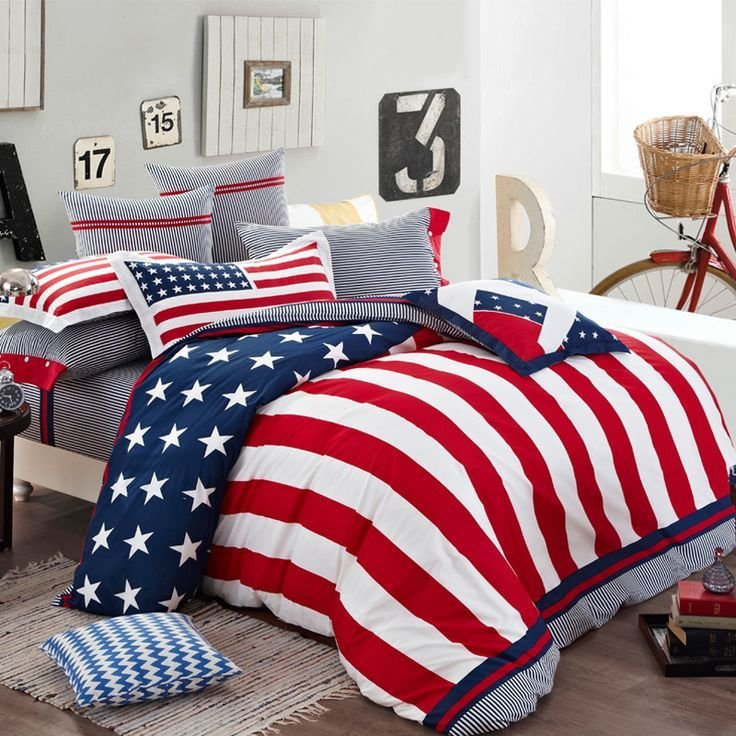 Best Patriotic Bedroom American Style Rwb Blankets With Pictures