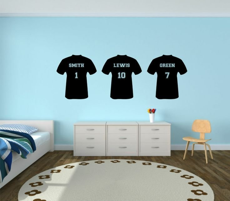 Best Personalised Football T Shirt Vinyl Wall Sticker Boys Bedroom Kids Custom Team Football Rooms With Pictures