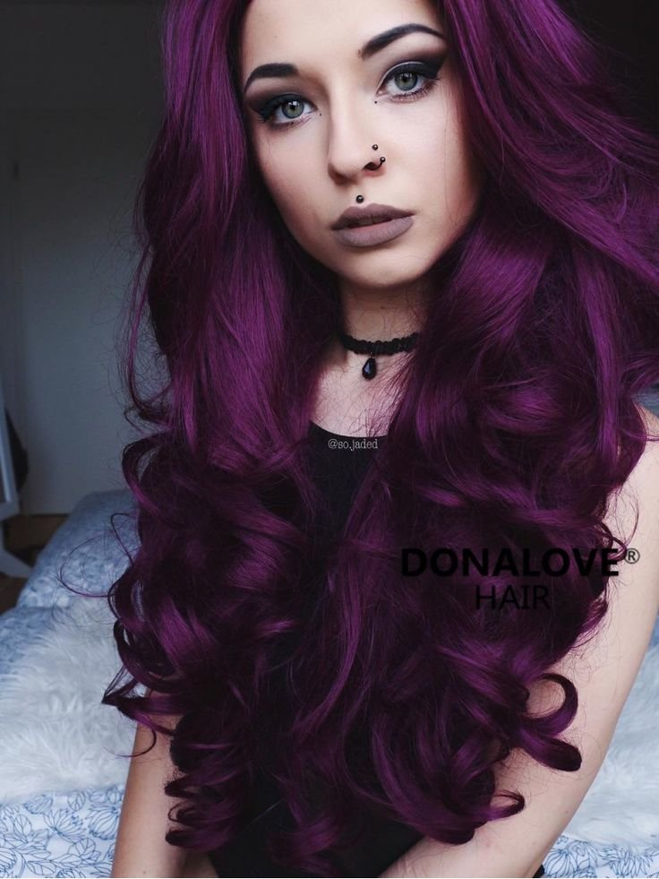 Free Dark Purple Wavy Waist Length Lace Front Synthetic Wig Wallpaper