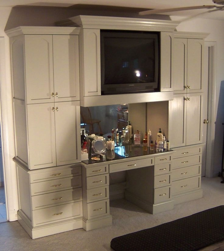 Best Bedroom Cabinet And Makeup Table Built In I Want Sans Tv With Pictures