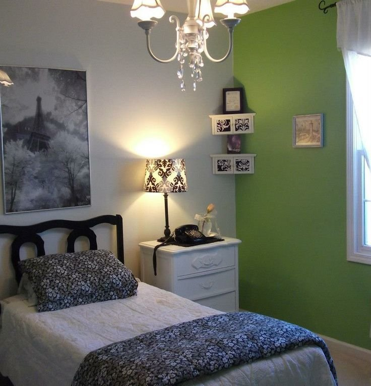 Best Green White Black And Grey Paris Themed Bedroom For With Pictures