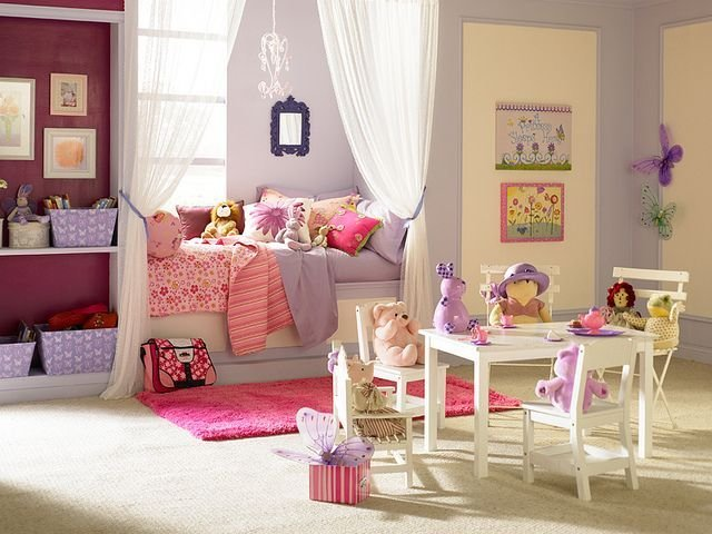 Best Fancy Pink And Purple Shared Room For Little Girls With Pictures