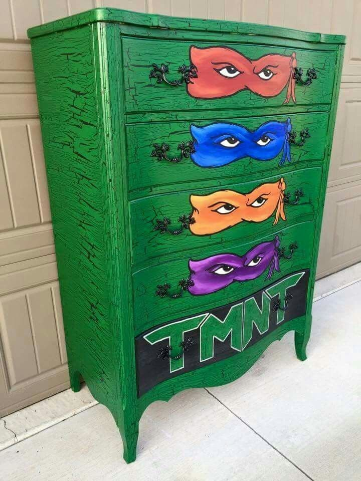 Best This Teenage Mutant Ninja Turtles Green Dresser With Each Of The Ninja S Masks Is A Must For Any With Pictures