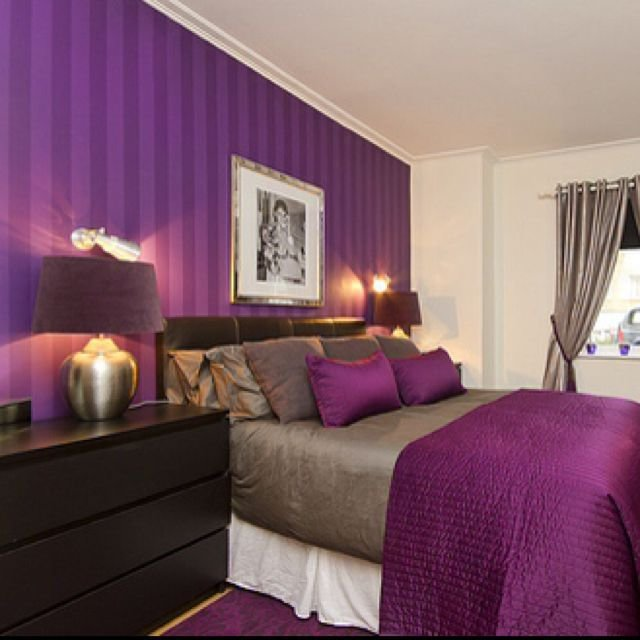 Best I Love The Purple Striped Wall Bedrooms Pinterest With Pictures