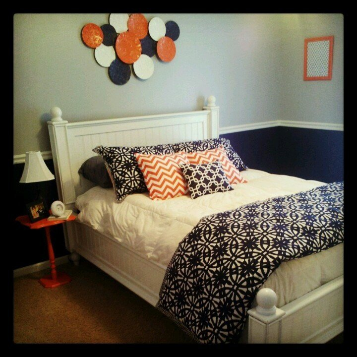 Best Navy Blue Coral And Gray Bedroom Decor Color With Pictures