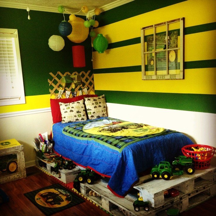 Best My Little Boy S John Deere Room With A Pallet Bed Ashton With Pictures