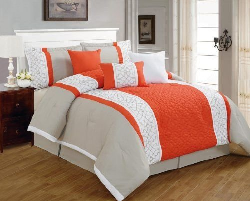 Best 7 Pieces Luxury Coral Orange Grey And White Quilted Linen With Pictures