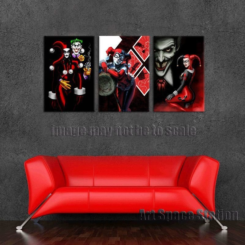 Best Harley Quinn And The Joker Canvas Wall Pictures Print With Pictures