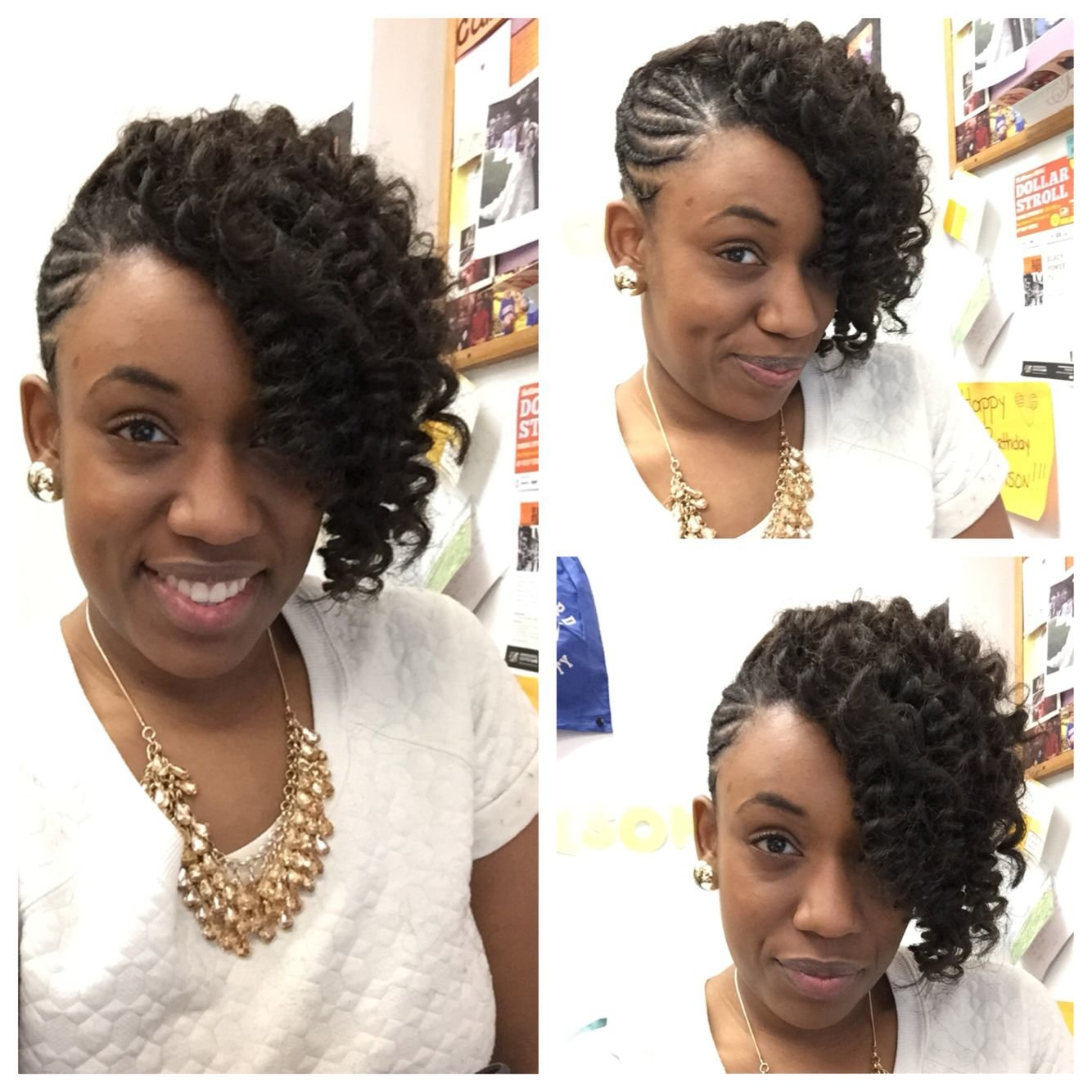 Free Braided Updo With Kanekalon Hair Crocheted And Curled To Wallpaper