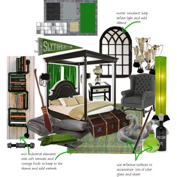 Best Slytherin Dorm Room By Queenaengland On Polyvore Harry Potter Home With Pictures