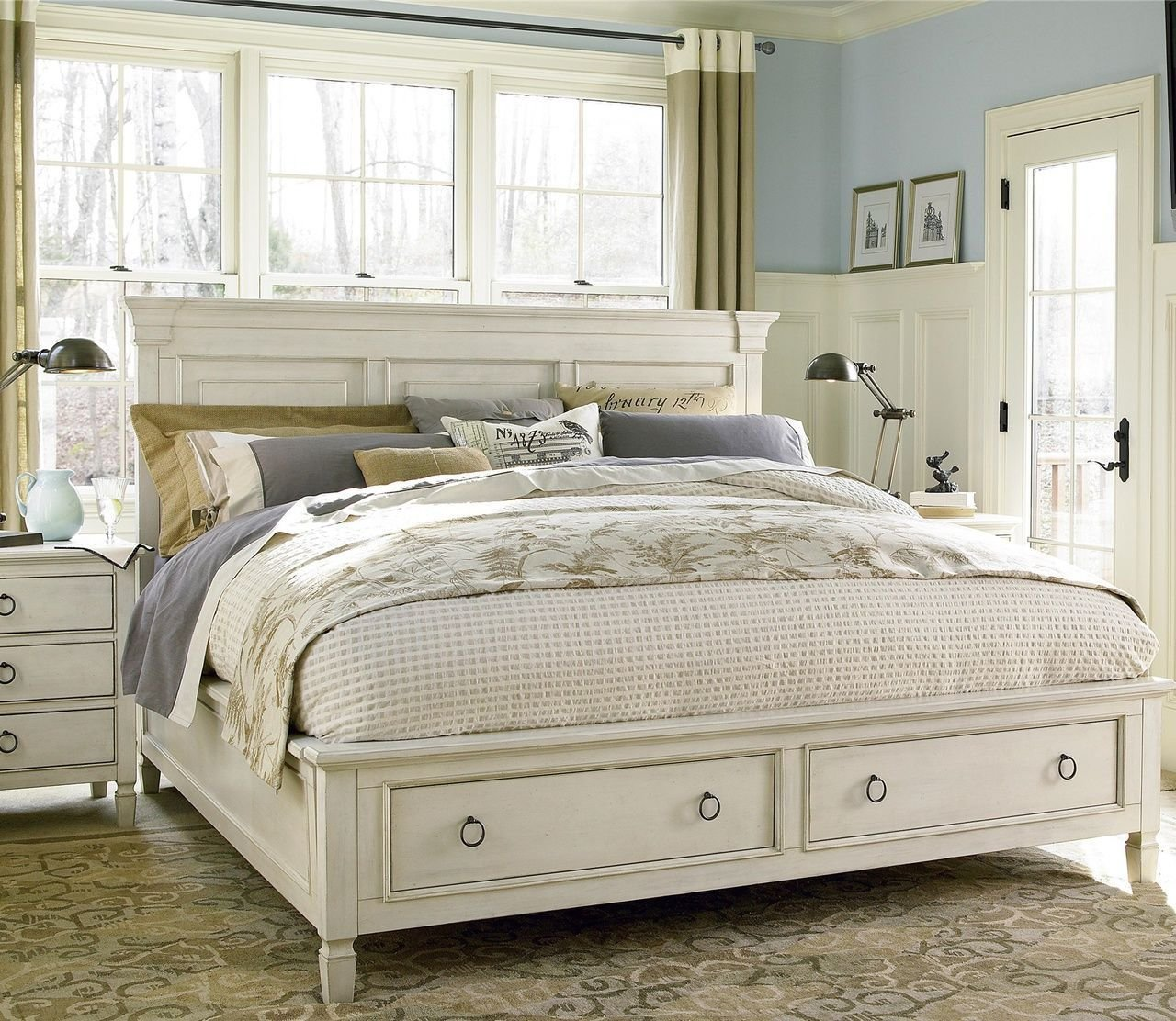 Best Country Chic Wood King Size White Storage Bed Storage With Pictures