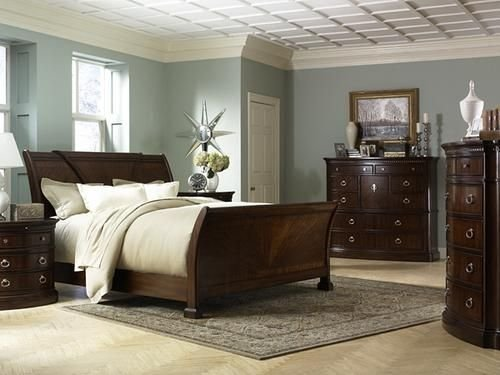 Best Dreamy Blue Grey Walls With Dark Furniture Bedroom With Pictures