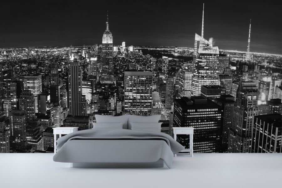 Best Panoramic New York Wall Mural Ideas In Bedroom Design With With Pictures